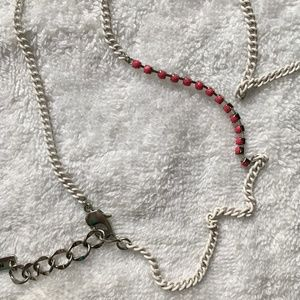 BCBGeneration White Chain and Pink Jewel Necklace